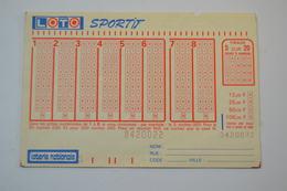 Ancien Billet De Loto Sportif Loterie Nationale Années 1980 - 1990 - Billets De Loterie