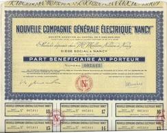 """PART BENEFICIAIRE - NOUVELLE  COMPAGNIE GENERALE ELECTRIQUE """"NANCY"""" 1957 - Electricité & Gaz"""