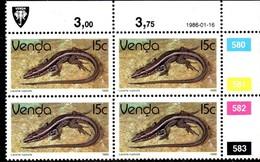 Venda - 1986 Reptiles 15c Control Block (1986.01.16) (**) - Venda