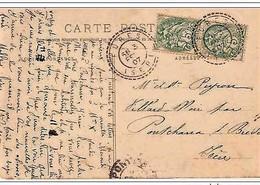 "Cachet Perlé Facteur Boitier ""FURES ISERE 1907"" Frappe SUPERBE Indice=4 Blanc Cp Sassenage - Poststempel (Briefe)"