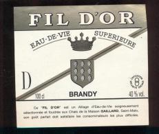 Etiquette De Brandy  -  Fil D'Or  -  Gaillard  à  Saint Malo - Etiquettes