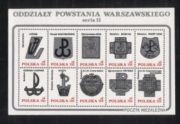 POLAND SOLIDARNOSC SOLIDARITY WW2 WARSAW UPRISING BATTALION BADGES SERIES 2 SHEETLET PERF Freedom From Nazi Germany - Solidarnosc Labels