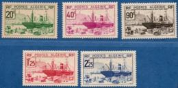Algerie, 1939 Exposititon Internationale New York, Navire De Cargo, 5 Val. MH Freighter Extaavia In Harbor Algiers - Transport