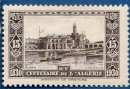 Algerie, 1930 15 + 15 C Alger L' Admirauté, Bateau à Rames 1 Val. MH Rowing Boat  In Front Of Admiralty - Monuments