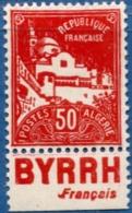 Algerie, 1927-1928 50 C With Booklet, Baande Publique Byrrh, 1 Val. MH Advertisement Byrrh - Algeria (1924-1962)