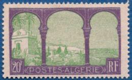 Algerie, 1927-1928 20 Fr , 1 Val. MH View From Upper Moustapha - Algeria (1924-1962)