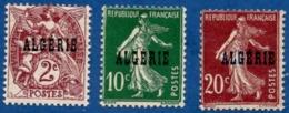 Algerie, 1924 10 Centimes Surcharge Double, 2, 10 & 20 C. Couleurs Intense, 3 Val. ** (10c) Et * - Algeria (1924-1962)