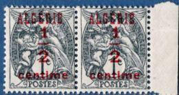 Algerie, 1924 ½ Centimes Blanc Paire, Surcharge Carmin Foncé ** - Algeria (1924-1962)