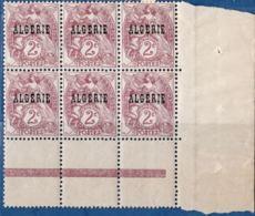 Algerie, 1924 2 Centimes Blanc Block De 6 Avec Interpanneaux ** - Algeria (1924-1962)