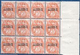 Algerie, 1924 3 Centimes Blanc Block De 12 ** - Algeria (1924-1962)