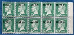 Algerie, 1924 15 Centimes Pasteur Block De 10 ** - Algeria (1924-1962)