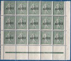 Algerie, 1924 15 Centimes Semeuse Lignée Block De 15 Avec Interpanneaux ** / * (petit Aminci Sûr 1 Timbre - Algeria (1924-1962)