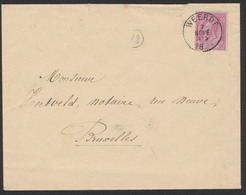 """émission 1884 - N°46 Sur Lettre Obl Simple Cercle """"Weerde"""" Vers Bruxelles. TB - 1884-1891 Leopold II"""