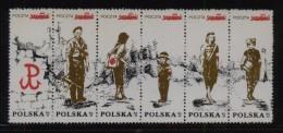POLAND SOLIDARITY SOLIDARNOSC WW2 WARSAW UPRISING STRIP OF 6 PARTISANS UNDERGROUND ARMY AK MILITARIA WORLD WAR 2 - Solidarnosc Labels