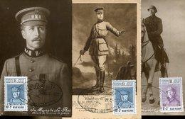 40690 Belgium, 3 Differents Maximum Of  The Kings Of Belgium  All In Vintage Cards, As Scan - Maximum Cards