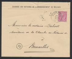 """émission 1884 - N°46 Sur Lettre Obl Simple Cercle """"Duffel"""" Vers Bruxelles - 1884-1891 Leopold II"""