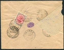 1913 Persia Ahmad Shah 6ch Cover. Senneh - Hamadan - Kazvin - Tauris - Iran