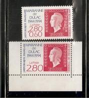 France, 2863, 2864, Neuf **, TTB, Journée Du Timbre, Cinquantenaire De La Marianne De Dulac - Unused Stamps