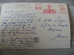 1937 E M A Ema Expo Inter Pax Empreinte Machine Affranchir Illustree Sur Carte - Marcophilie (Lettres)