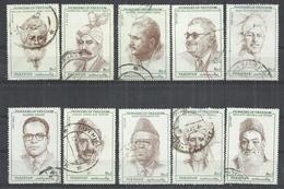 TEN AT A TIME - PAKISTAN 1990-1992 - PIONEERS OF FREEDOM -  LOT OF 10 DIFFERENT 1 - OBLITERE USED GESTEMPELT USADO - Pakistan