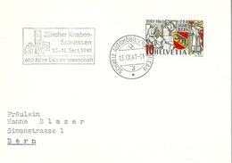 "Sonderstempel  ""Zürcher Knabenschiessen / 650 Jahre Eidgenossenschaft""       1941 - Covers & Documents"