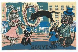 """CPSM RECOUVERTE DE FEUTRINE """" LA STRADA """" ( LA RUE ), SERRIERE ET SES ANIMAUX SAVANTS - Cartes Postales"""