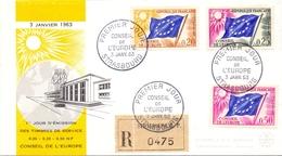 STRASBOURG 1963 CONSEIL DE L'EUROPE FDC  REGISTRED MAIL FANTASTIC   COVER   (DICE180080) - FDC