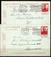 Postal History: Belgium 2 Postal Stationary Cards - Stamped Stationery