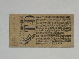 "Ancien Ticket Omnibus "" TAD "". Compagnie Générale Des Omnibus, Ticket Metro. - Europe"