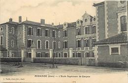 -depts Div.-ref-AE785- Gers - Mirande - Ecole Superieure De Garçons - Ecoles - Carte Bon Etat - - Mirande