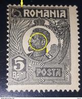Error Ferdinand ROMANIA 1920 , 5bani Black Broken Frame Unused - Variétés Et Curiosités