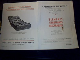 Publicite  Ets METAURGIE DU NICKEL A Montfermeil Seine Et Oise Elements Chauffant Electrique Aannee ,,?? - Publicités