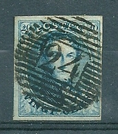 Nr 7 (gerand) Gestempeld P 24 BRUXELLES - Cote 10,00 - 1851-1857 Médaillons (6/8)