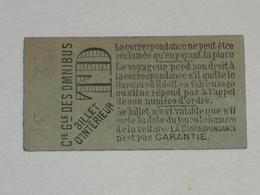 """Ancien Ticket Omnibus """" TD """". Compagnie Générale Des Omnibus, Ticket Metro. Publicité Au Verso. - Tram"""