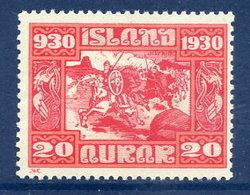 ICELAND 1930 Millenary 20 A. Unused Without Gum.  Michel 130 - 1918-1944 Autonomous Administration