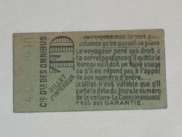 "Ancien Ticket Omnibus "" TD "". Compagnie Générale Des Omnibus, Ticket Metro. - Tram"