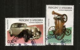 ANDORRA.  Rolls Royce Silver Wraith 1946 & Pinette Minim.  Deux Timbres Oblitérés, 1 ère Qualité - Voitures