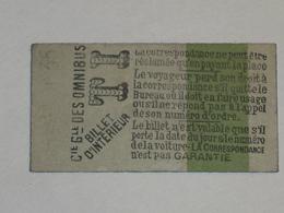 """Ancien Ticket Omnibus """" TI """". Compagnie Générale Des Omnibus, Ticket Metro. - Tram"""