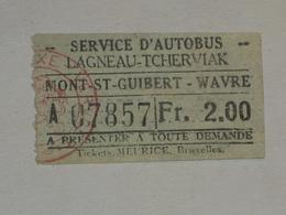 Ancien Ticket Tramway, Bruxelles Belgique.Ticket Autobus,Train, Metro. - Europe