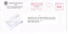 Österreich Freistempel Technische Universität Graz An Die Akademie Der Wissenschaft Der DDR - Meterstamp - Poststempel - Freistempel
