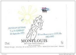 """Etiquette De Vin Montlouis -  Cuvée Critérium National """"La M Ferrand""""  20/09/1997 - Fradin à Montlouis (37) - Cyclisme"""