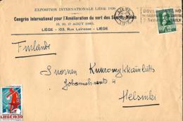 Belgique. TP 299 Imprimé Expo Internat. Liège 1930 + Vignette > Helsinki Congrès Sur  Sort Des Sourds-muets (état Moyen) - België