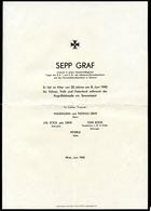Todesanzeige, Leutnant Fiel Am 8.Juni 1942 Vor Sewastopol, 22 Jahre, Wien, 2. Weltkrieg, 2.WK, - Todesanzeige