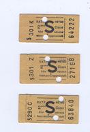 Trois Tickets De Metro Parisien RATP - Métro