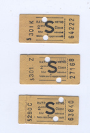 Trois Tickets De Metro Parisien RATP - Subway