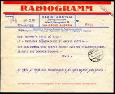Radiogramm, Brieftelegramm, 26.10.1960, Von Beyrouth  Nach Wien - Announcements