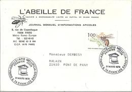 France Apiculture Lettre Affranchie Premier Jour Sur Timbre Abeille - Journée Du Timbre