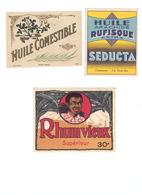 Deux étiquettes Huile De Table Et Une étiquette De Rhum - Rhum