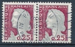 France - Marianne De Decaris YT 1263 Paire Horizontale Obl. - 1960 Marianne De Decaris
