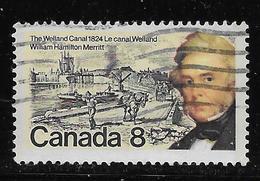 CANADA 1974, USED #655, WILLIAM HAMILTON MERRITT, SINGLE,contruction Canal Wellan, Travaillants - 1952-.... Règne D'Elizabeth II